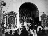 Unutrašnjost crkve sv. Marije Magdalene 1957. godine, Mutvoran. (fp. 4057) Iz arhive Arheološkog muzeja Istre