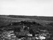 Pogled na ruševine kule s istoka (Sv. Juraj), početkom 60-ih godina, Nova Vas. (bn. 6692.) Iz arhive Arheološkog muzeja Istre