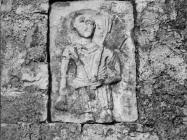 Plominski tapis uzidan u crkvu Sv. Jurja sredinom 60-ih godina, Plomin. (bn. 7384) Iz arhive Arheološkog muzeja Istre