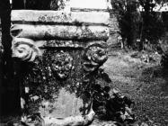 Gotički kapitel oz crkvu sv. Vincenca na groblju u Savičenti 1956. godine, Savičenta. (fn. 4511) Iz arhive Arheološkog muzeja Istre