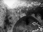 Apsidalni luk u crkvi Svetog Trojstva 1975. godine, Šišan. (fn. 13931) Iz arhive Arheološkog muzeja Istre