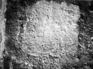 Glagoljski natpis na crkvi Svetog Petra 1975. godine, Trviž. (fn. 13998) Iz arhive Arheološkog muzeja Istre