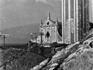 Pogled na crkvu sv. Blaža s tavana palače Bettica 1989. godine, Vodnjan. (fn. 127) Iz arhive Arheološkog muzeja Istre