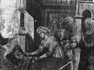 Detalj slike na drvetu iz 1321. godine snimljeno početkom 50-ih godina, Vodnjan. (fp. 50) Iz arhive Arheološkog muzeja Istre