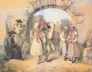Peroj, nedjeljni ples, 1842 (crteži A. Tischbein, A. Selb)