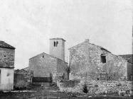Pogled na zvonik romaničke crkve sv. Ilije 1955. godine, Bale. (bn. 3067) Iz arhive Arheološkog muzeja Istre