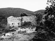 Pogled na ostatke građevina oko crkve sv. Ivana glavosijeka 1991. godine, Koromačno. (fn. 25698) Iz arhive Arheološkog muzeja Istre