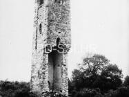 Pogled na zvonik crkve sv. Ivana evanđelista 1972. godine, Gajana. (fn. 11522) Iz arhive Arheološkog muzeja Istre
