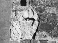 Antička spolija u pročelju crkve sv. Pelagija u Završju početkom 60-ih godina, Završje. (bn. 6726.) Iz arhive Arheološkog muzeja Istre